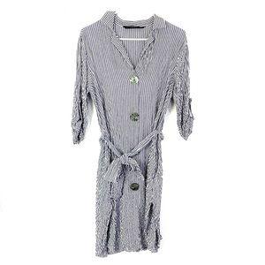 2/$20 Zara Casual Seersucker / Crepe Striped Dress